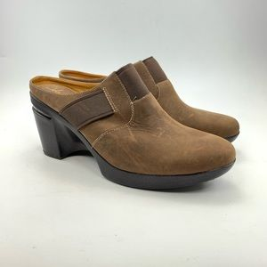 Cole Haan brown leather wedge mules size 9.5